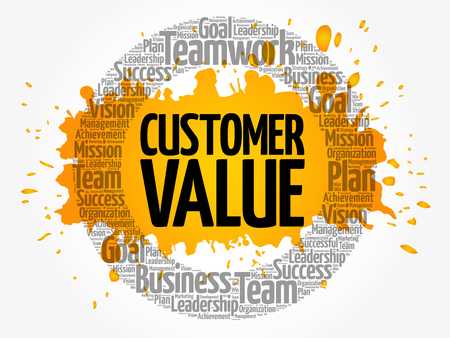 Customer Value circle word cloud, business concept