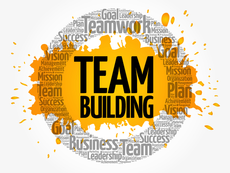 Team Building word cloud collage, business concept background Vectores