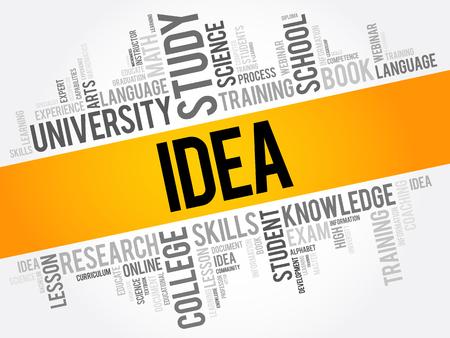 IDEA word cloud collage, education concept background Ilustração