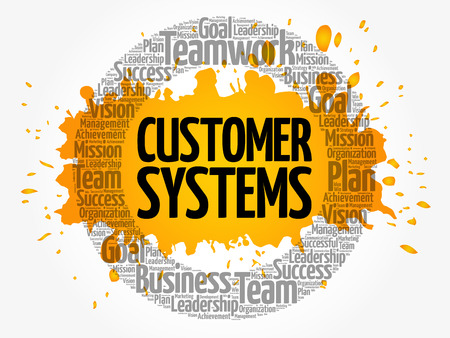 Customer Systems circle word cloud, business concept Illustration