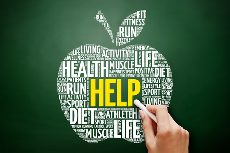 HELP apple word cloud collage, health concept on blackboard Stock Photo