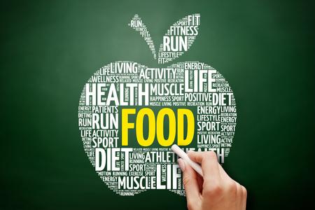 FOOD apple word cloud collage, health concept on blackboard
