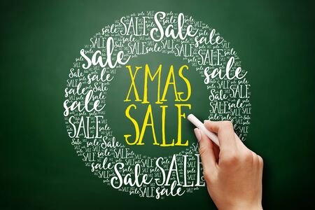 XMAS SALE word cloud collage, business concept on blackboard