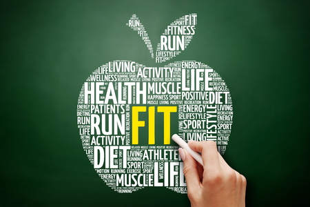 FIT apple word cloud collage, health concept on blackboard