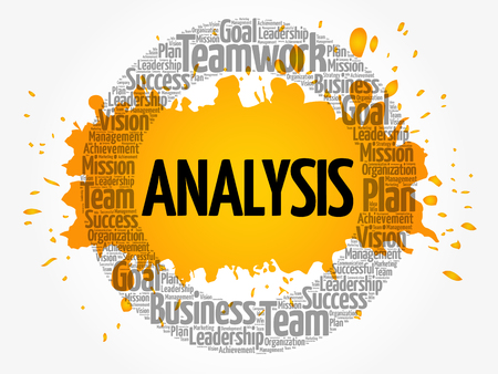 Analysis circle word cloud, business concept Illustration