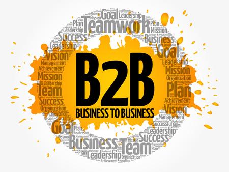 B2B (Business-to-Business) círculo palabra nube, concepto de negocio Ilustración de vector