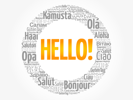 Hello word cloud in different languages of the world Çizim