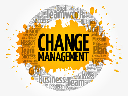 Change management word cloud collage, business concept background Çizim