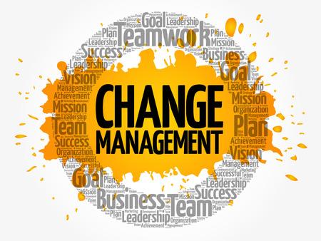 Change management word cloud collage, business concept background Illustration