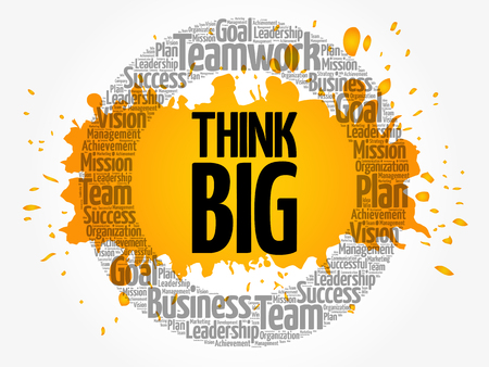 Think Big word cloud collage, business concept background