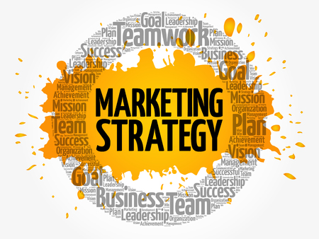 Marketing Strategy circle word cloud, business concept Illustration