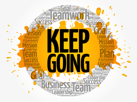 Keep Going word cloud collage, business concept background
