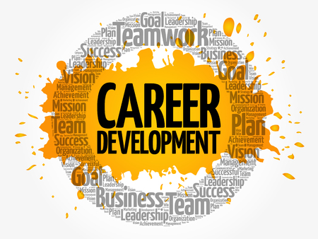 Career development word cloud collage, business concept background