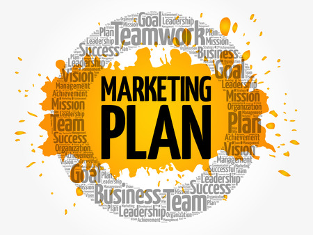 Marketing Plan circle word cloud, business concept Ilustração