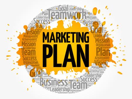 Marketing Plan circle word cloud, business concept Illustration