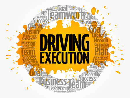Driving Execution word cloud collage, business concept background