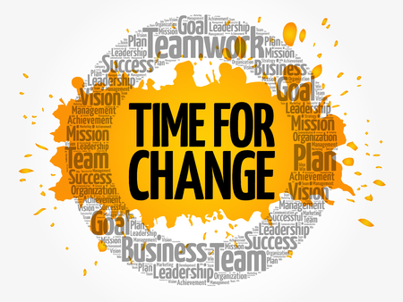 Time for change word cloud collage, business concept background