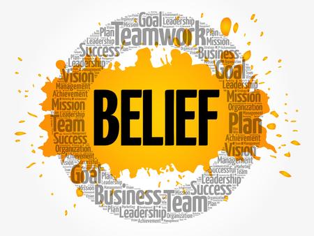 BELIEF word cloud collage, business concept background Stock Illustratie