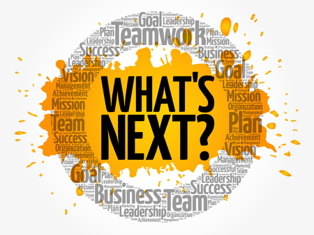 Whats Next word cloud collage, business concept background