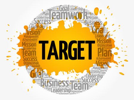 Target circle word cloud, business concept