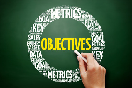 Objectives word cloud collage, business concept on blackboard Stock Photo