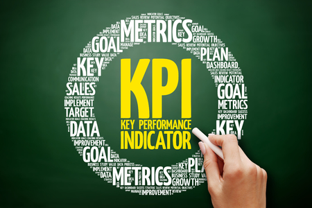 KPI - Key Performance Indicator word cloud collage, business concept on blackboard