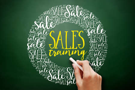 Sales Training word cloud collage, business concept on blackboard