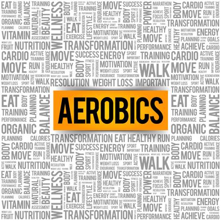 Aerobicwort-Wolkenhintergrund, Gesundheitskonzept Standard-Bild - 90792161
