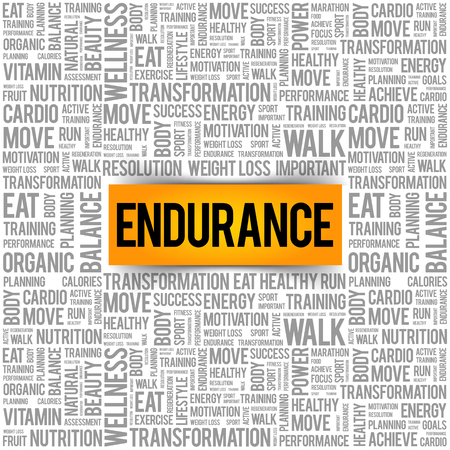 ENDURANCE word cloud collage, health concept background 向量圖像