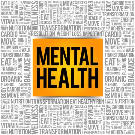 Geestelijke gezondheid woord collage, gezondheid concept achtergrond Vector Illustratie