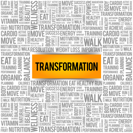 TRANSFORMATION word cloud, fitness, sport, health concept Vectores