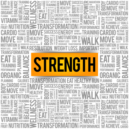 Strength word cloud collage, health concept background