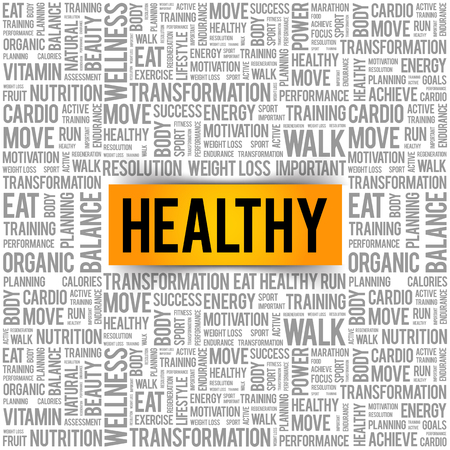 HEALTHY word cloud background, health concept