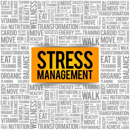 스트레스 관리 단어 구름 콜라주, 건강 개념 배경