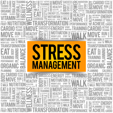 Stress Management word cloud collage, health concept background Stock fotó - 90792088