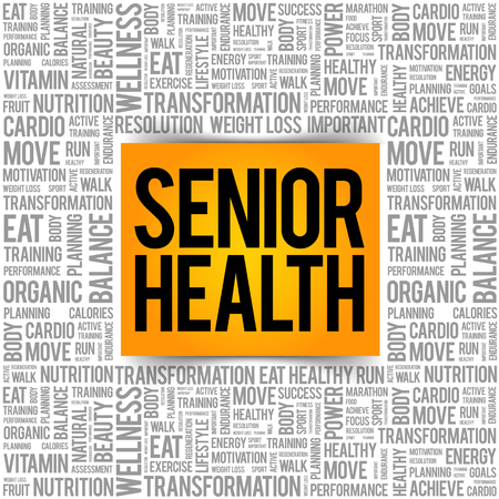 Senior health word cloud background, health concept Illustration
