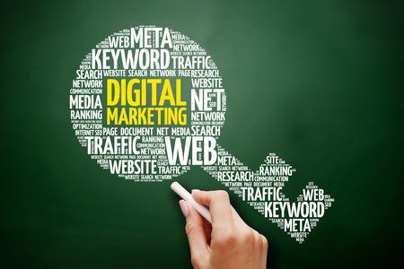 Digital Marketing key word cloud collage, business concept on blackboard