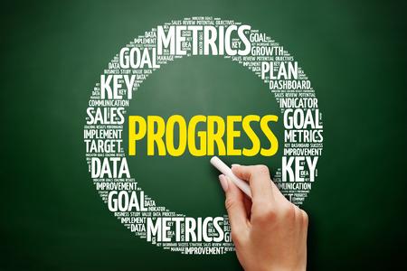 Progress word cloud collage, business concept on blackboard Stock Photo