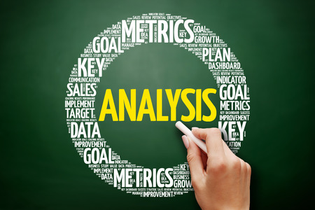 Analysis word cloud collage, business concept on blackboard Stock Photo