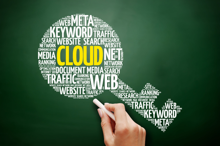 CLOUD key word cloud collage, business concept on blackboard