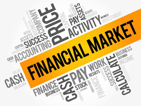 Financial market word cloud collage, business concept background. Stock Illustratie