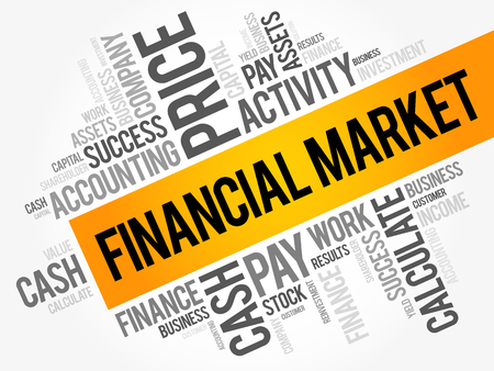 Financial market word cloud collage, business concept background. Ilustração