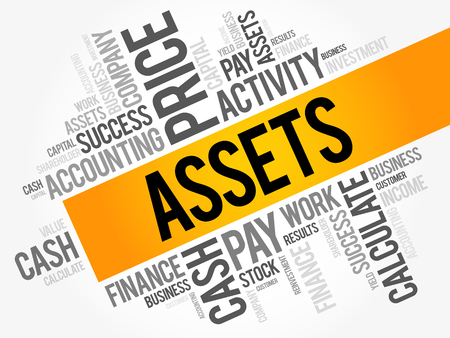 Assets word cloud collage, business concept background Vectores