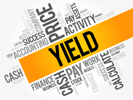 Yield word cloud collage, business concept background.