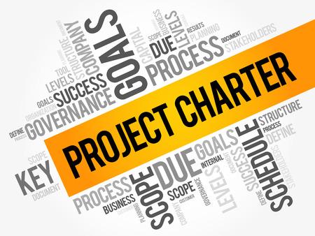 Collage de nuage de mot de charte de projet, termes d'affaires tels que la méthode, processus, avance le concept