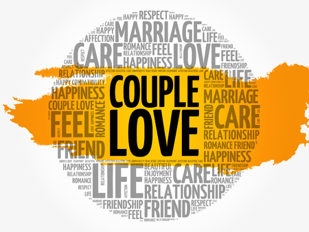 Couple love circle word cloud collage concept, vector illustration. Illustration