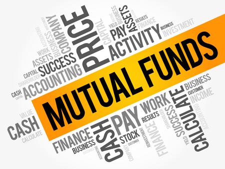 Mutual Funds word cloud collage, business concept background
