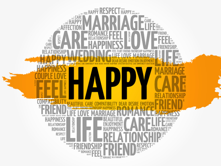 Happy word cloud collage, concept background, vector illustration. Vector Illustration