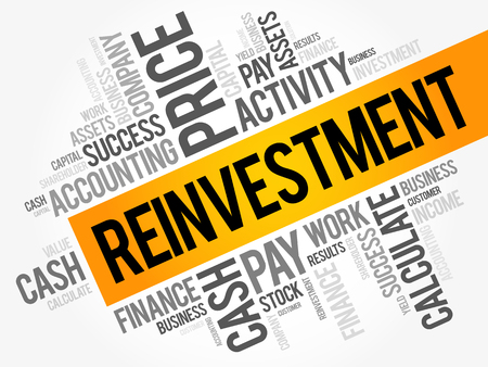 Reinvestment word cloud collage, business concept background.