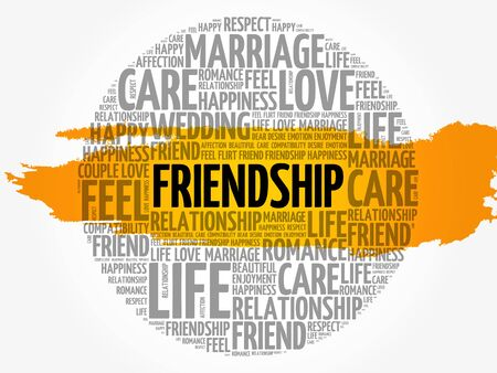 Friendship circle word cloud collage concept, vector illustration. Illustration